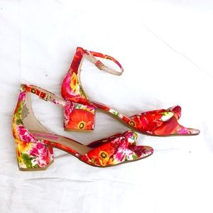 Betsey Johnson Ivee Pink Floral Block Heel